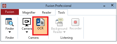 Fusion Tools tab with the OCR button selected