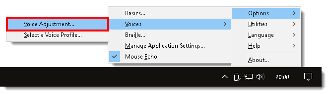 Selecting Voice Adjustment from the JAWS menu