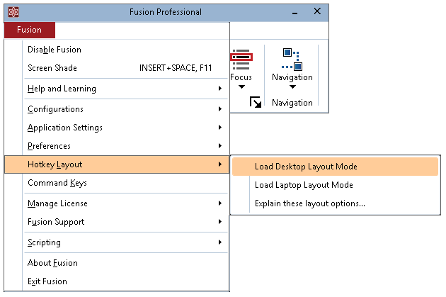 Hotkey Layout items shown in the Fusion menu
